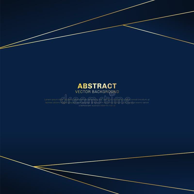 在深蓝倒栽跳水背景的抽象多角形样式豪华与金黄线 向量例证