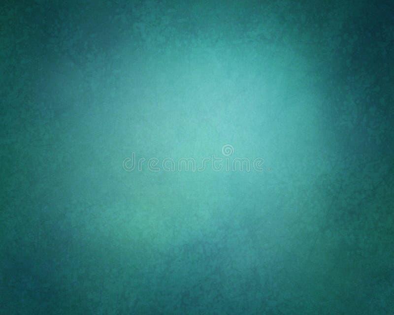 在深蓝和绿色颜色的抽象坚实背景与软的照明设备和葡萄酒难看的东西构造了小插图边界 向量例证
