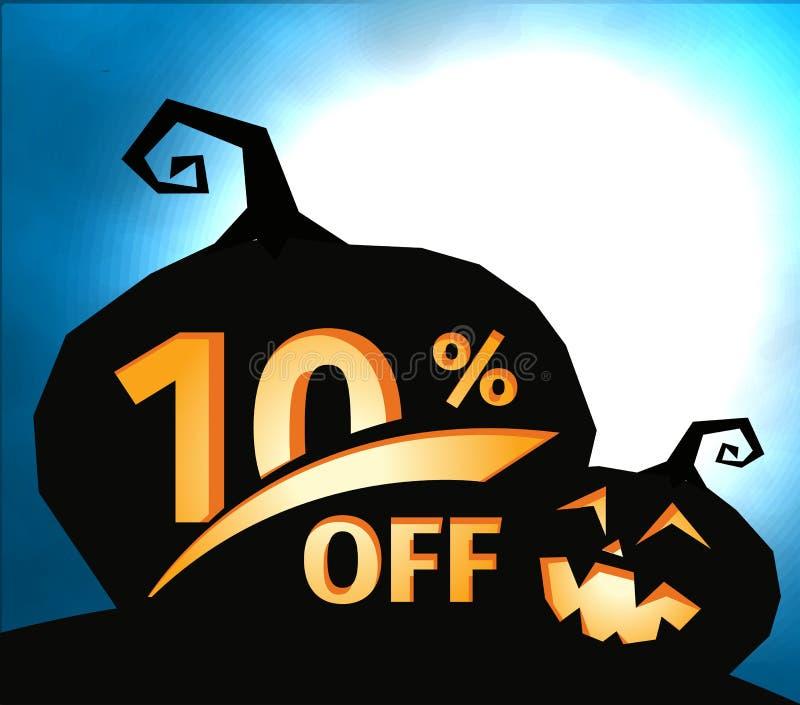 在深蓝天空的南瓜剪影与满月 万圣夜10%,销售横幅 假日提议,秋天 向量例证