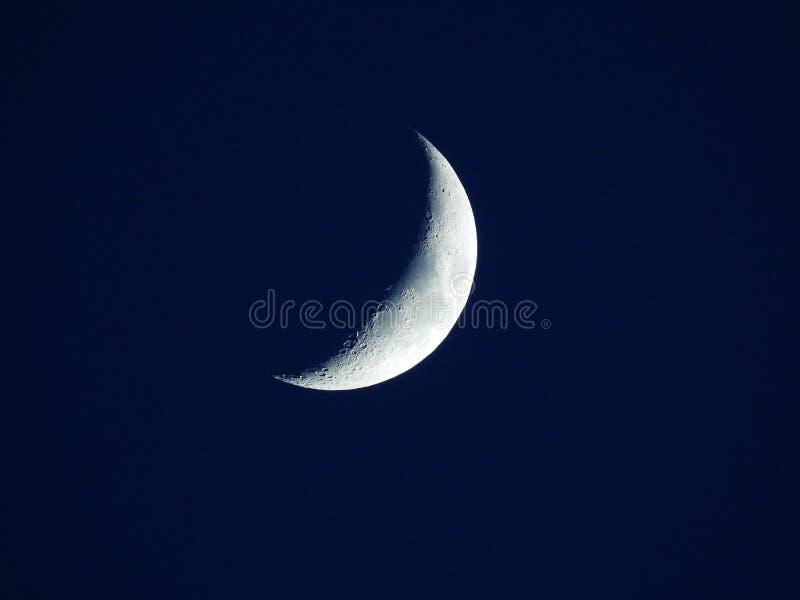 在深蓝平衡的天空的上升的四分月 免版税库存照片