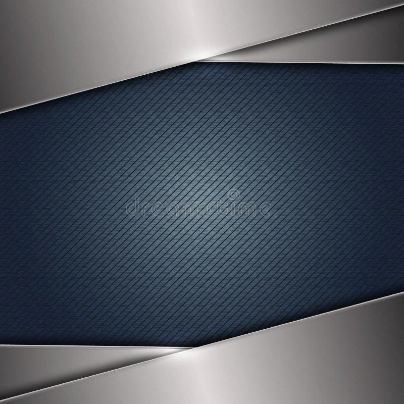 在深蓝无缝的对角条纹的摘要发光的掠过的钢构造背景 向量例证