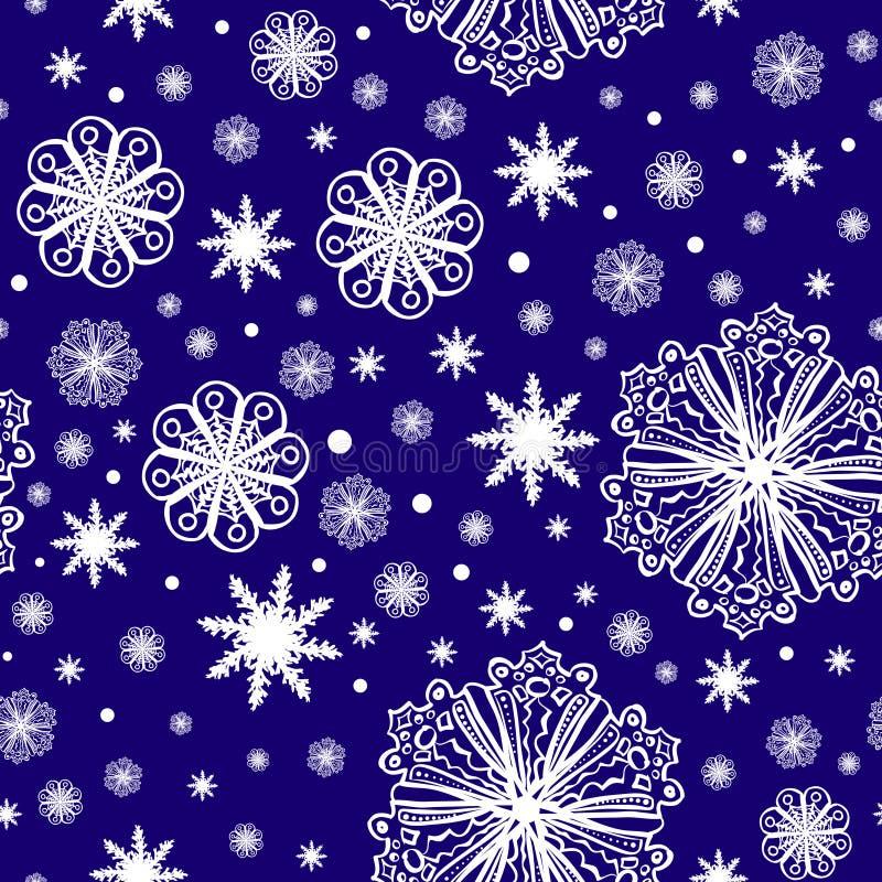 在深蓝无缝的样式的圣诞节雪花 向量例证
