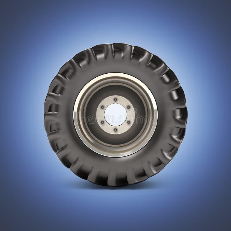 在深蓝梯度背景侧视图3D的越野轮子 库存例证