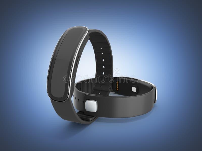 在深蓝梯度背景3d的健身镯子巧妙的手表 向量例证