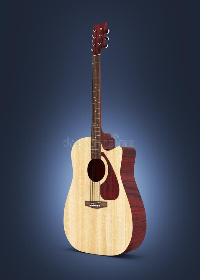 在深蓝梯度背景3d的声学吉他 库存例证