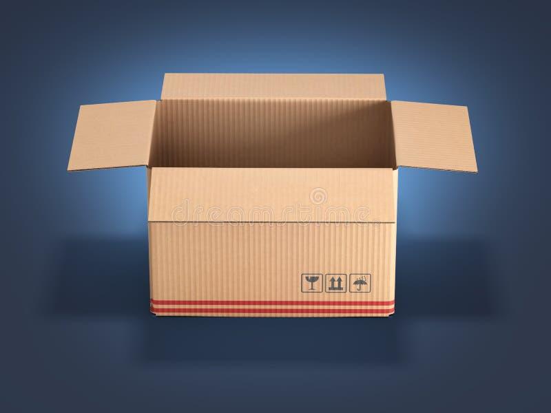 在深蓝梯度背景3d的纸板箱 向量例证