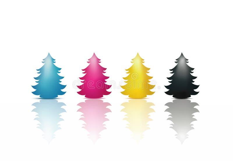 在深蓝洋红色黄色黑色隔绝的圣诞树 cmyk概念概念性图象查出的白色 快活的圣诞节 向量例证