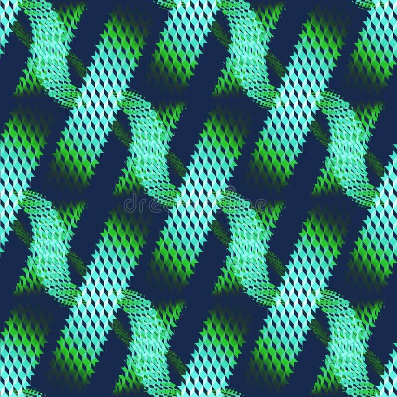 在深蓝的无缝的奶蛋烘饼织法样式绿色在对角条纹 向量例证