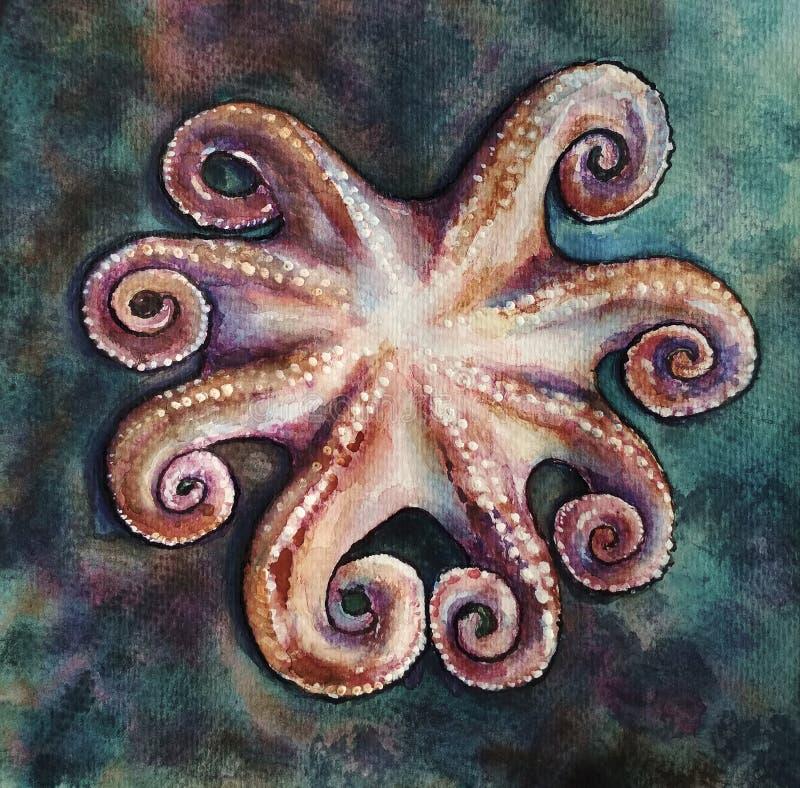 在深蓝背景的一个海洋章鱼 例证用有水彩和墨水的人工得出 库存例证