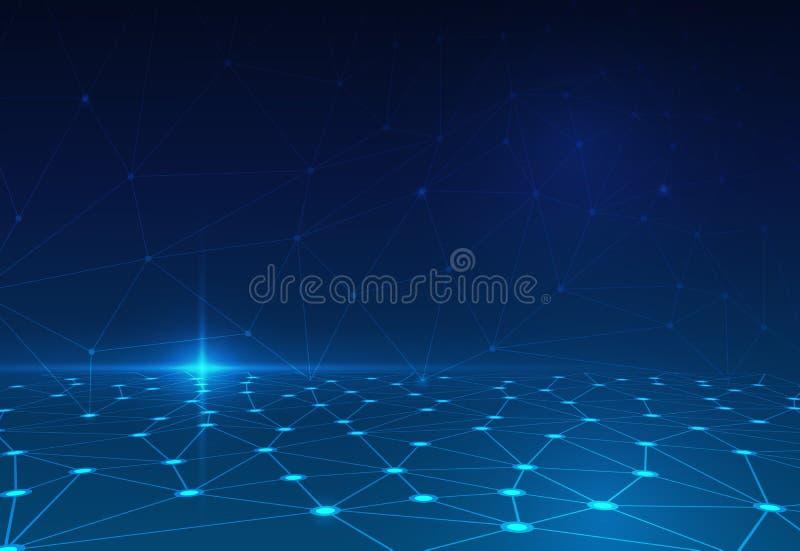 在深蓝背景的抽象分子 未来派技术概念的网络 向量例证