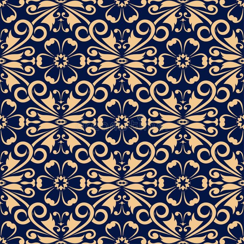 在深蓝背景的金黄花卉元素 无缝的模式 库存例证