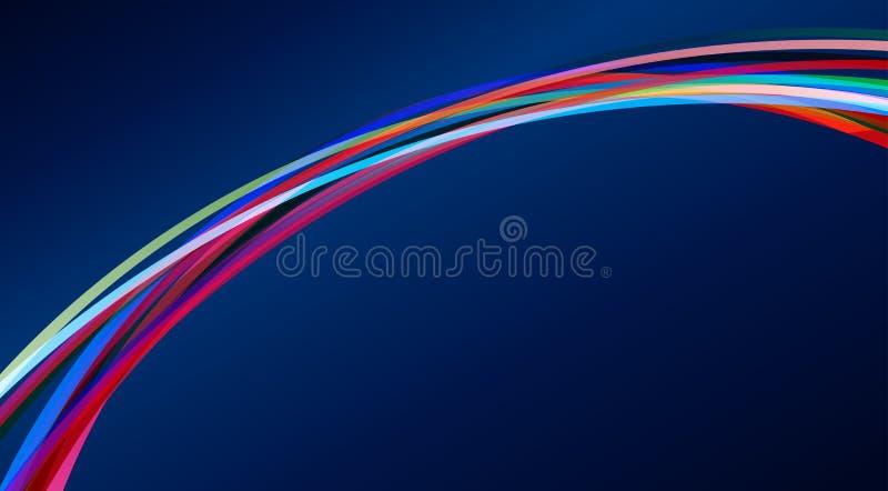 在深蓝背景的颜色弧 向量 向量例证