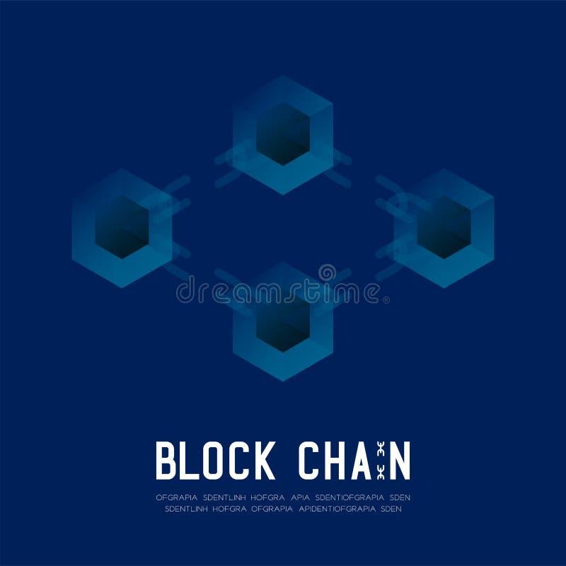 在深蓝背景的Blockchain技术3D等量真正,系统离线构思设计例证和Blockc 皇族释放例证