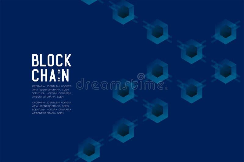在深蓝背景的Blockchain技术3D等量真正,系统离线构思设计例证和Blockc 库存例证