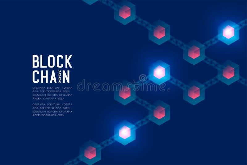 在深蓝背景的Blockchain技术3D等量真正,系统网上构思设计例证和Blockch 库存例证