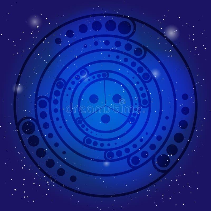 在深蓝色宇宙天空的精神神圣的标志 在宇宙的荐骨的几何 向量例证