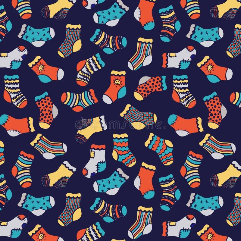在深蓝袜子无缝的样式的蓝色桔子 向量例证