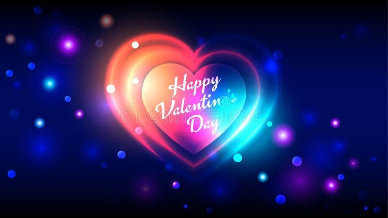 在深蓝bokeh背景的愉快的情人节传染媒介贺卡明亮的五颜六色的霓虹心形 库存例证