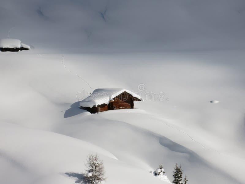 在深雪的原木小屋在南蒂罗尔阿尔卑斯  免版税图库摄影