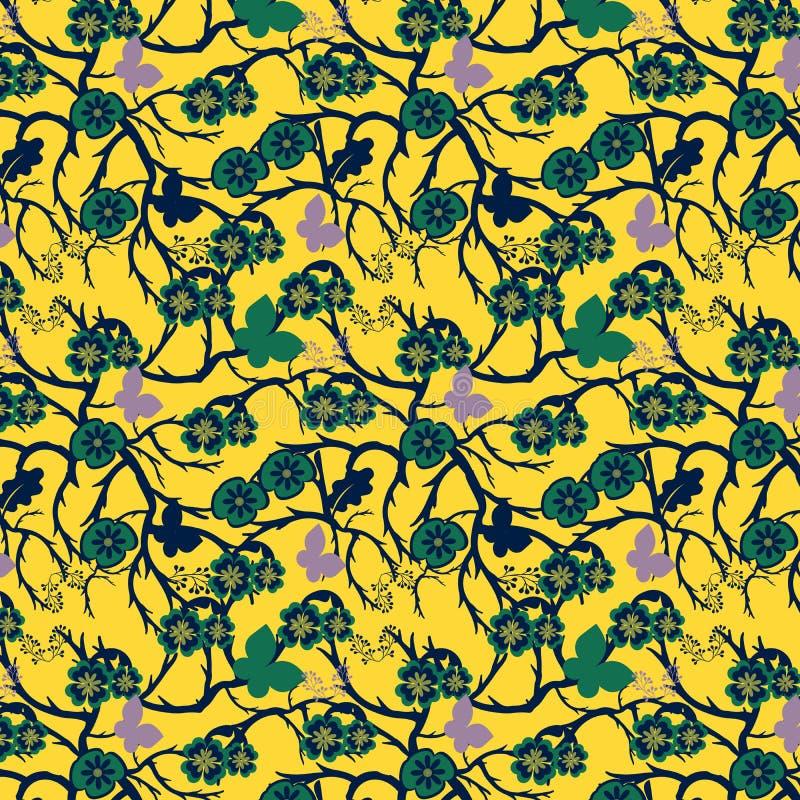 在深黄色的背景的绿色异想天开的花卉重复的样式 库存例证