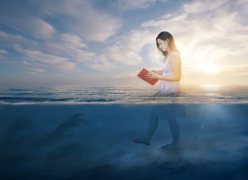 读在深水的圣经 免版税库存图片