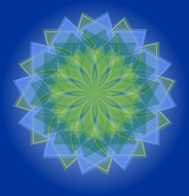 在深刻的蓝色梯度背景,自然的安慰性的颜色的半透明的蓝色和绿色坛场在几何星shap的 皇族释放例证