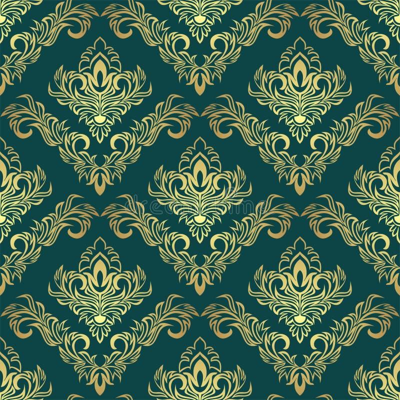 在深绿的豪华金黄锦缎样式 皇族释放例证