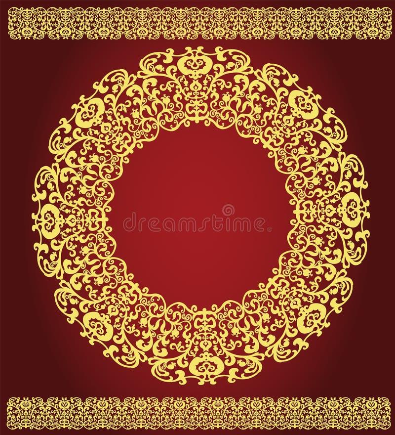在深紫红色背景的东部金装饰品 皇族释放例证