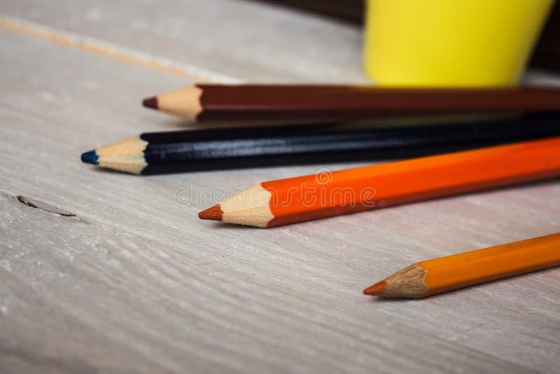 在混乱的颜色铅笔 库存照片