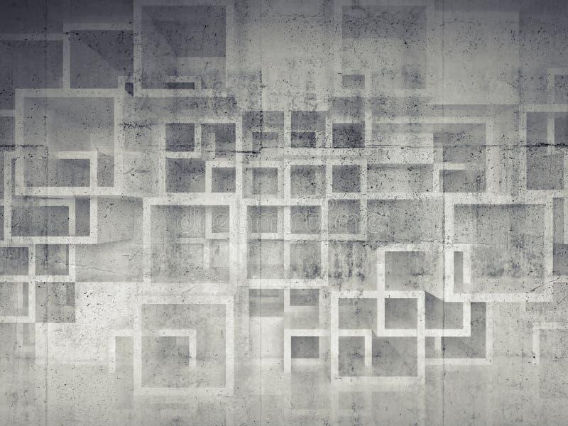 在混凝土墙上的抽象混乱方形的胞状结构 皇族释放例证