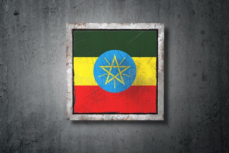 在混凝土墙的埃塞俄比亚旗子 库存例证