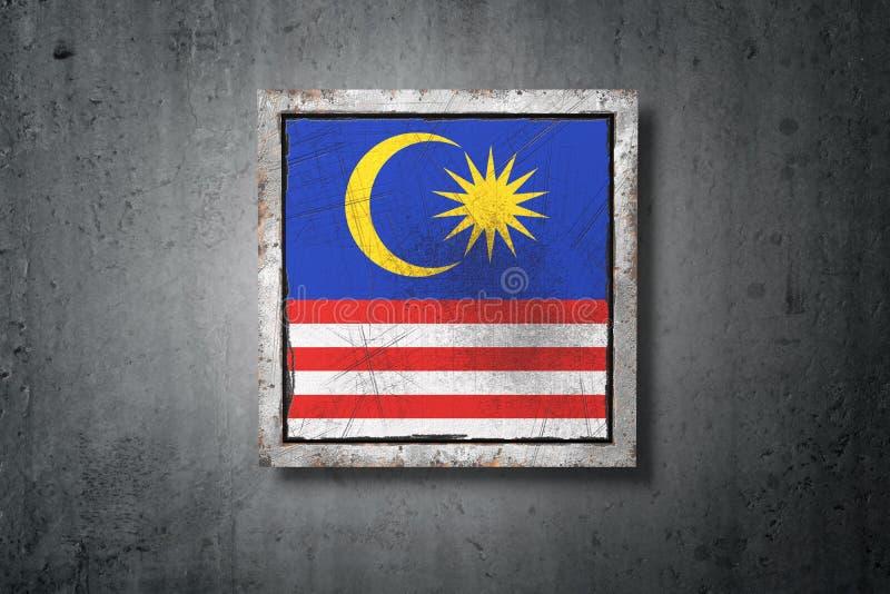 在混凝土墙的马来西亚旗子 库存例证