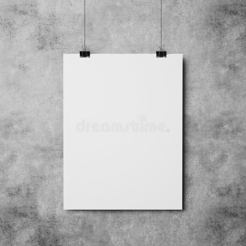 在混凝土墙背景的白色海报 免版税图库摄影