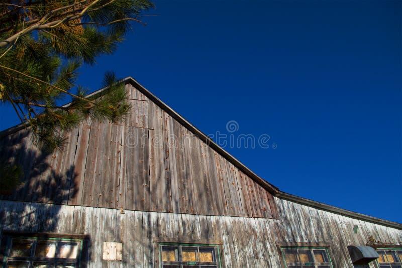 在清楚的天空前面的谷仓与拷贝空间 图库摄影