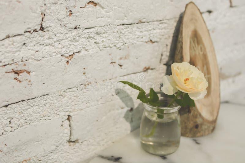 在清楚的花瓶的白玫瑰 库存照片