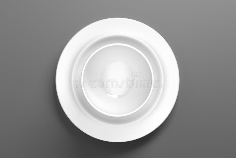 在清楚视觉的白色瓷餐具-例证 库存例证
