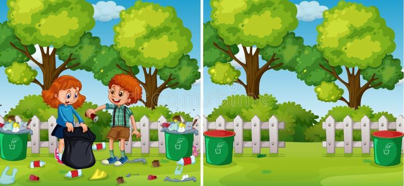 在清洗公园的孩子前后 向量例证