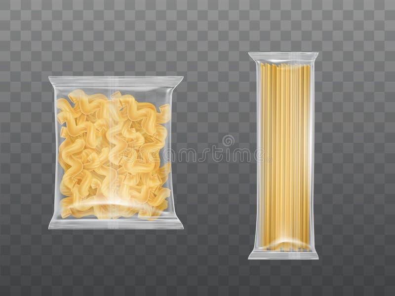 在清澈包裹集合干燥通心面意粉的面团 向量例证