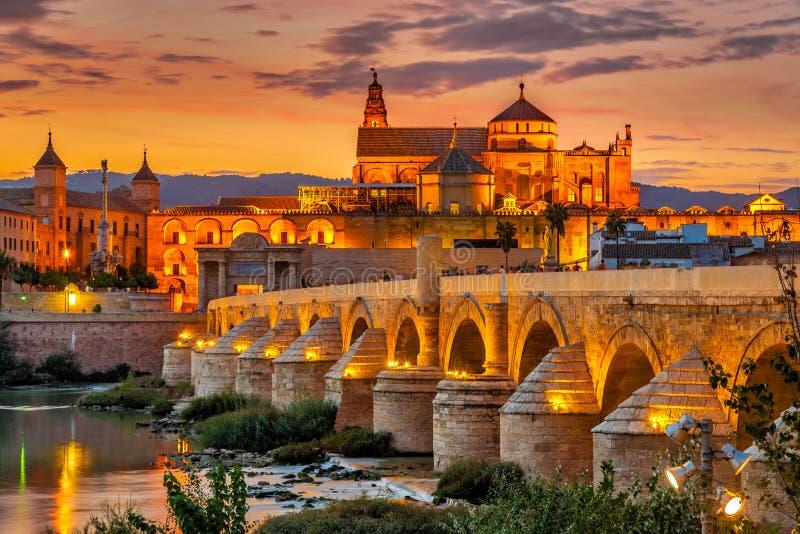 在清真寺大教堂的晚上视图有罗马桥梁的在科多巴,西班牙 库存图片
