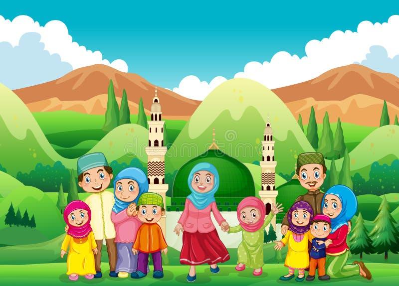 在清真寺的回教家庭 向量例证