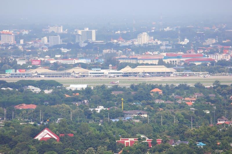 在清迈国际机场看法  免版税库存图片