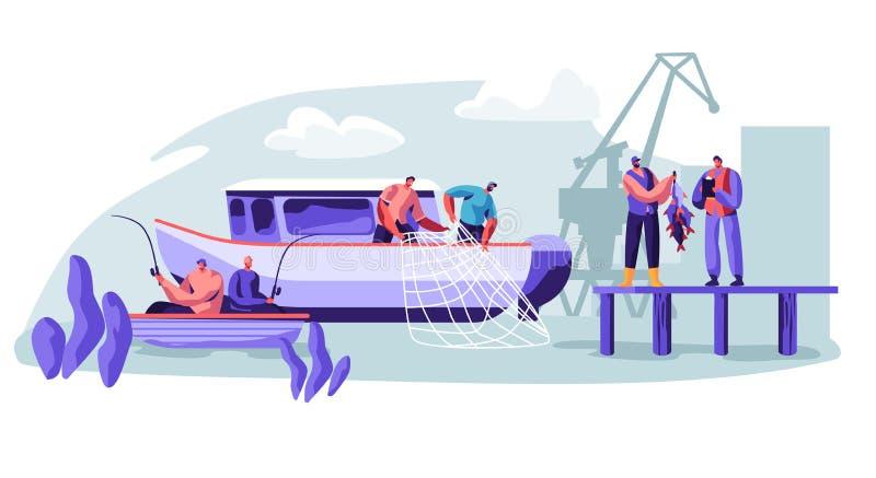 在渔场产业的渔夫工作在大小船船 抓鱼的渔夫,拉扯从海的鱼网,给抓住拖拉 向量例证