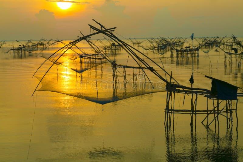 在渔夫农场的美好的日出 库存图片