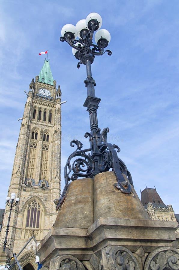 在渥太华议会前面的路灯到底 库存图片