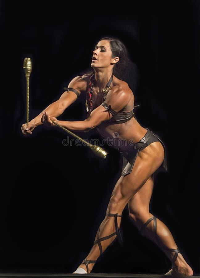 在温哥华比赛的华丽的健身表现 免版税库存照片