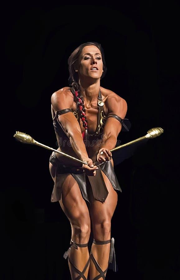 在温哥华比赛的华丽的健身表现 免版税库存图片