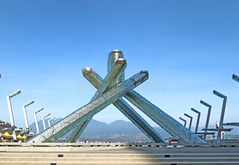 在温哥华江边的晴朗的天空蔚蓝天 杰克Poole广场,温哥华,加拿大 免版税库存图片