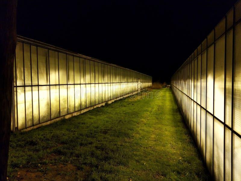 在温室之间的路 图库摄影