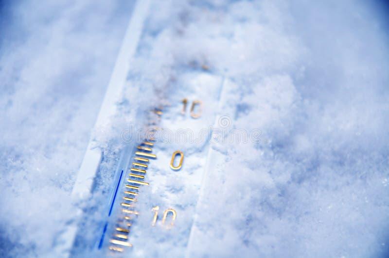 在温度计零之下 免版税库存图片