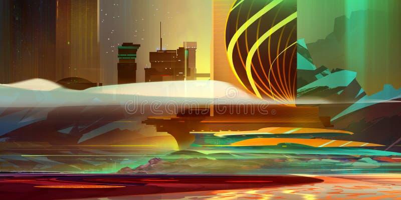 在温暖的颜色的被绘的工业风景仿照计算机国际庞克样式 免版税库存图片